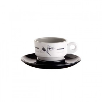 Marine Business Set 6 Tazzine Da Caffe' + Piattino Welcome On Board, Ø 6,5 Cm, H 4,7 Cm 80 Ml