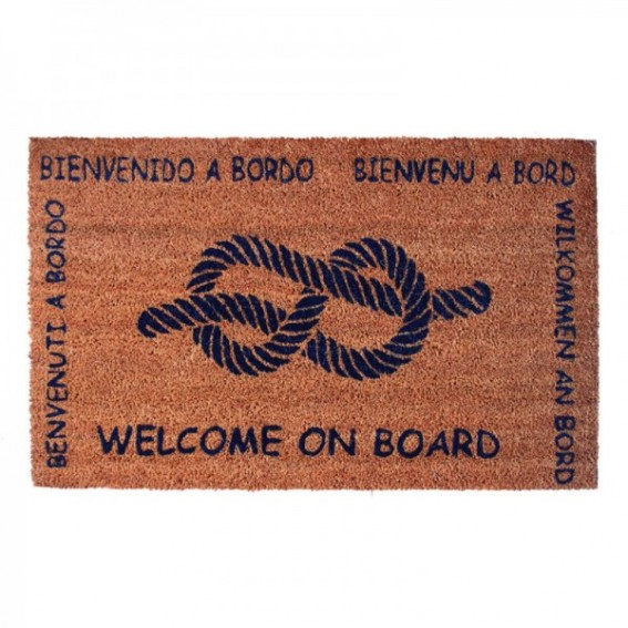 "TAPPETO ""WELCOME ON BOARD""in poliamide con fondo in gomma L:70 cm H:40 cm"