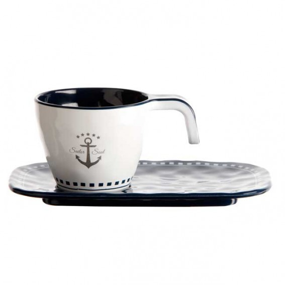 MARINE BUSINESS SET 6 TAZZINE DA CAFFE' + PIATTINO SAILOR SOUL, Ø 6 cm, H 5 cm